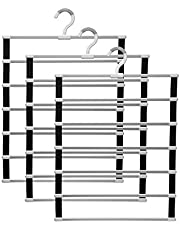 IMHO Pant Hangers for Wardrobe - Multifunctional Folding Jeans Rack - Trousers Hanger 6 Layers Non-Slip - Closet Storage Organizer - Space Saver Slacks Clothes Hanger for Pants Scarf Ties Towels