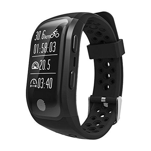 Smartband S908 Smart Bracelet GPS IP68 Waterproof Touch Key Heart Rate Monitor Bluetooth 4.2 Fitness Tracker Smart Wristband G03 (Black)