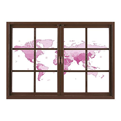 ck Fabric Illusion 3D Wall Decal Photo Sticker/Light Pink,Cute World Map Continents Island Land Pacific Atlas Europe America Africa Decorative,White Light Pink/Wall Sticker Mural ()