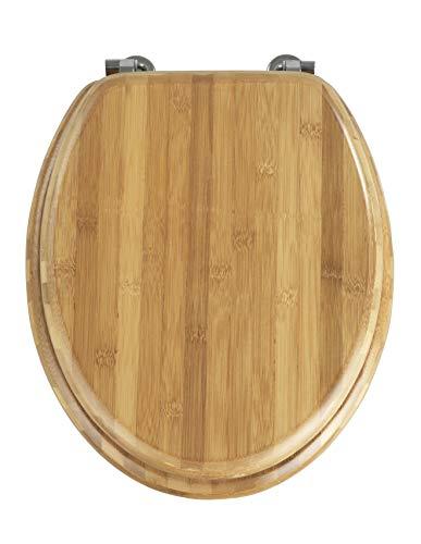 Wenko WC-Sitz Bambus, Toilettensitz aus echtem Bambus, WC-Deckel mit rostfreien Edelstahl-Scharnieren, 34,5 x 41,5 cm, dunkelbraun