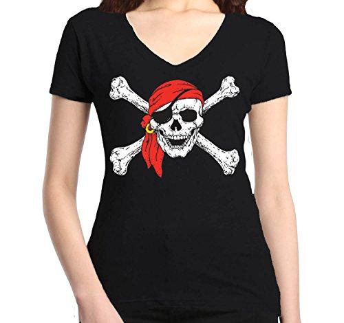 Shop4Ever Jolly Roger Skull & Crossbones Women's V-Neck T-Shirt Pirate Flag Shirts Medium Black 0