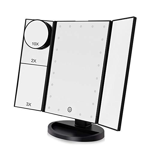 Funtouch LED Lighed Makeup Vanity Mirror with 21 LED Lights, 10X/3X/2X/1X Magnifying -