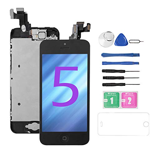 for iPhone 5 Screen Replacement [Black],Drscreen Full LCD Display Touch Glass Screen Digitizer Replacement Kit with Home Button and Front Camera for A1428/A1429/A1442, Repair Tool (Iphone 5 Screen Replacement Only)