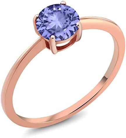 10K Yellow Gold 0.90 Ct Round Blue Tanzanite Rose Gold Ring