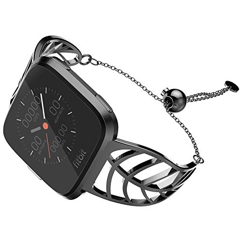 UooMoo Band Compatible with Fitbit Versa, Leaf Shape Stainless Steel Bracelet Women Replacement for Fitbit Versa Smart Watch-Black