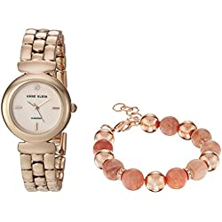 Anne Klein Women's AK/2850SUNS Diamond-Accented Rose Gold-Tone Watch and Sunstone Beaded Bracelet Set