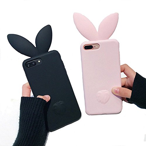 VERYLULU Set of 2PCS for iPhone 5s Case 3D Cute Cartoon Pink Bunny Rabbit Ears Tail Back Girls Soft Silicone Phone Coque Cover Case For Apple iPhone 5/ iPhone 5s/ iPhone Se