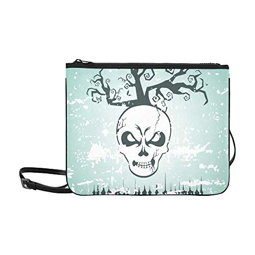 Vector Halloween Banner Flyer Poster Witch Pattern Custom High-grade Nylon Slim Clutch Bag Cross-body Bag Shoulder -