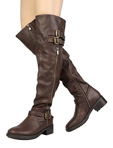 Knee up Women's pu Brown Riding PAIRS and High DREAM Boots ExqZgFwX