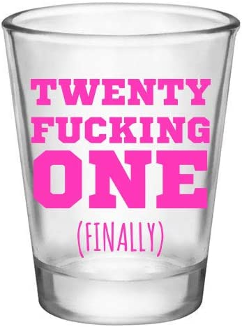 An image of 21st birthday shotglass with words written in hot pink shade.