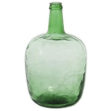 Indhouse - Jarrón garrafa original de vidrio reciclado verde vintage: Amazon.es: Hogar