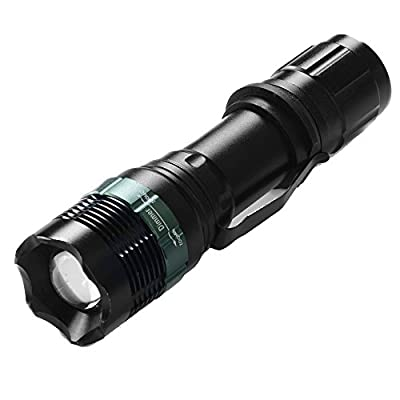 ANNT® CREE LED Flashlight Torch with 3 Modes Zoomable Adjustable Focus Water Resistant, Military Tactical Outdoor Camping Handheld Flashlights
