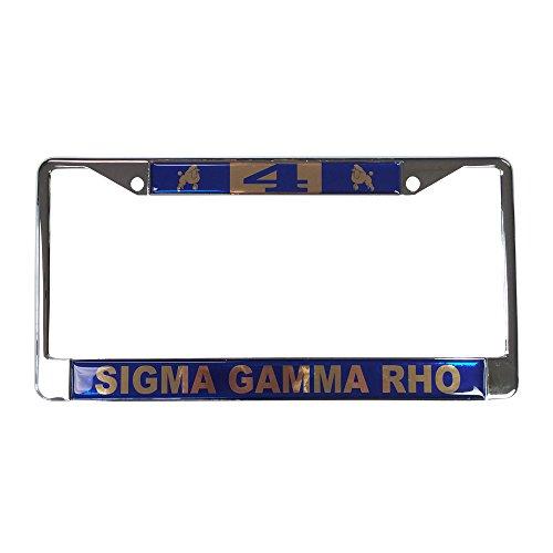 Sigma Gamma Rho Line Number # Metal License Plate Frame For Front Back of Car (#4 License Plate Frame)