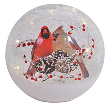 Mark Feldstein Cardinal Pair on Berry Branch LED Light Up 7 Inch Crackle Glass Globe Decoration