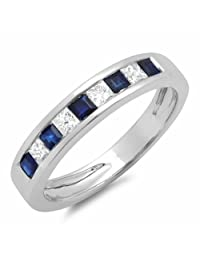 0.50 Carat (ctw) 10K White Gold White Diamond & Blue Sapphire Ladies Wedding Band Stackable Ring 1/2 CT