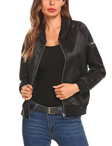 Mofavor Women's Lightweight Classic Biker Quilted Bomber Jacket Short Coat Black, Black, X-Large by Mofavor