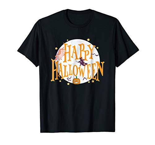 Happy Halloween Unicorn Witch Pumpkin Bat Unizex T Shirt