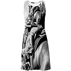 Horse Decor Casual Sleeveless Ice Skater Dress,for Skating,XS-3XL