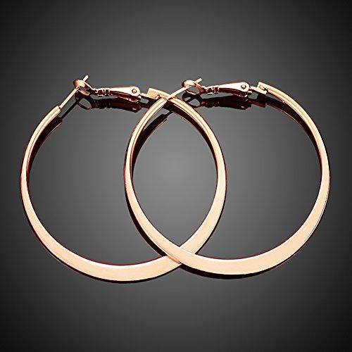 "2""Stainless Steel 18k Rose Gold Plated Hoop Earrings for ..."