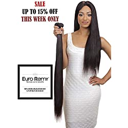 EURO REMY Brazilian Virgin 100% Unprocessed Human Hair Extensions - Weave - Straight - 20 inches Natural