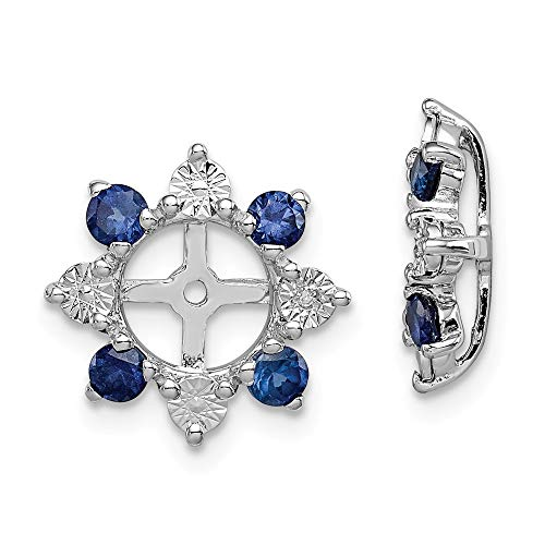 Jewel Tie 925 Sterling Silver Diamond & Simulated Sapphire Earring Jacket (13mm x 13mm)