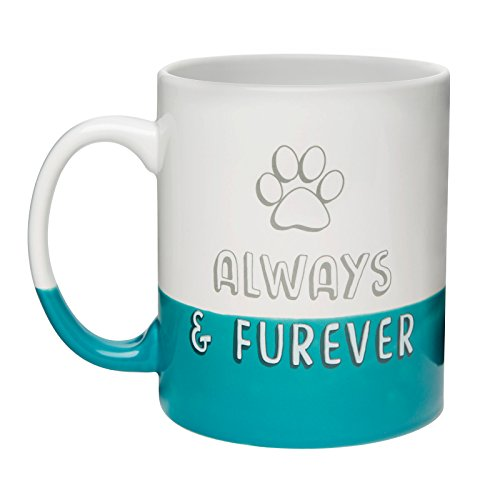 Amici Pet, 7CW022R, Always & Furever Ceramic Coffee Mug, Blue Bottom Dipped Finish, Block Lettering with Paw Design, Microwave and Dishwasher Safe, 30 Ounce ()