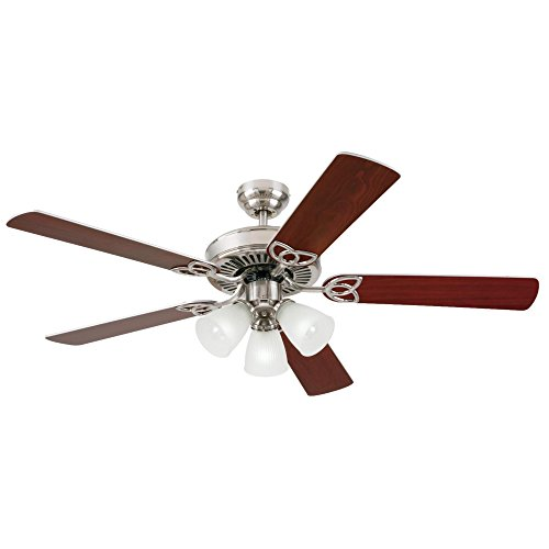 - Westinghouse 7867820 Vintage Three-Light 52-Inch Reversible Five-Blade Indoor Ceiling Fan, Brushed Nickel with Frosted Ribbed Glass Shades
