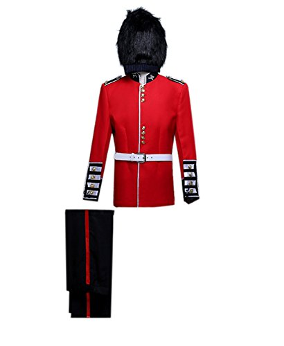 ROLECOS Mens British Royal Guard Soldier Fancy Dress Medieval Performing Costume Asian L ()