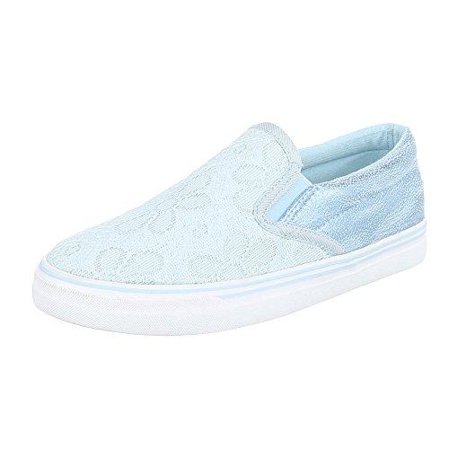 Chaussures De Sport-design Italien Faible Pour Femmes Modernes Sport Bleu Clair Kk-23
