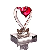 Anasa Decor Beautiful Decorative Heart with Rose Glass Showpiece (3.81 cm x 5.08 cm x 7.62 cm, Clear and Red)