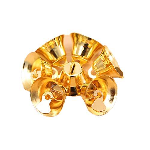 HANBINGPO 10Pcs Jingle Bells Gold Silver Christmas Bells for Christmas Tree Party Pendants Gold