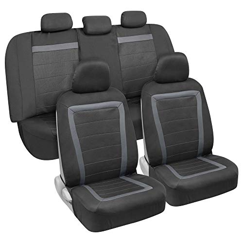 2020 Impala - BDK All-Protect Car Seat Covers (Full Set) - Front & Rear Coverage with Two-Tone Charcoal Honeycomb Design for Sedans, Vans, Trucks and SUVs