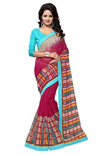 - Mirchi Fashion Women's Art Silk (Super Net) Geometric Printed Indian Saree