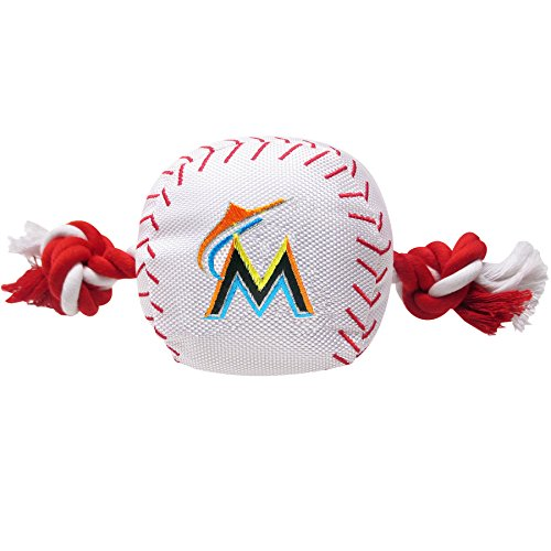 Pets First MLB Miami Marlins Dog Nylon Baseball Rope Toy - Officially Licensed Dog Baseball Jersey