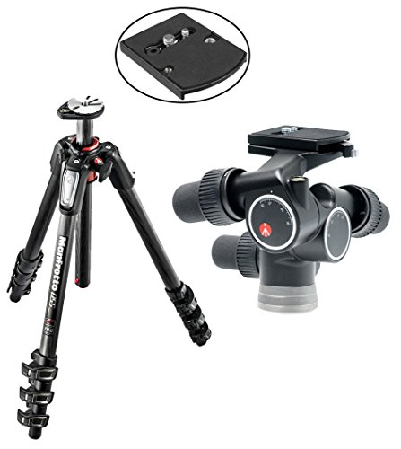 Manfrotto MT055CXPRO4 055 carbon fibre 4-section tripod, with horizontal column with 405 Pro Digital Geared Head and a Bonus 410PL Low Profile Quick Release Adapter Plate by Manfrotto