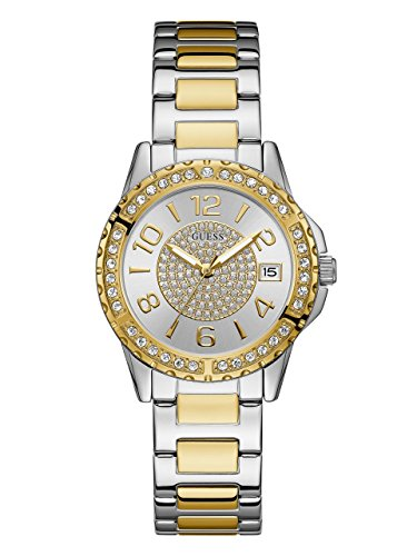 Guess Strap Ladies (Guess Women's Stainless Steel Crystal Casual Watch, Color Silver/Gold-Tone (Model: U0779L4))