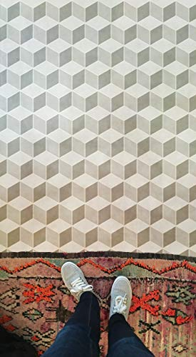 Tumbling Blocks Quilting Pattern Stencils for Painting Wall or Floor - Modern Geometric Flooring Tiles - Modern Mid Century, Retro, Kitchen, Bathroom Tiles