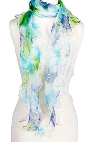 Double Layer 100% Silk, Floral Ruffle Silk Scarf, Summer scarf (blue/green)