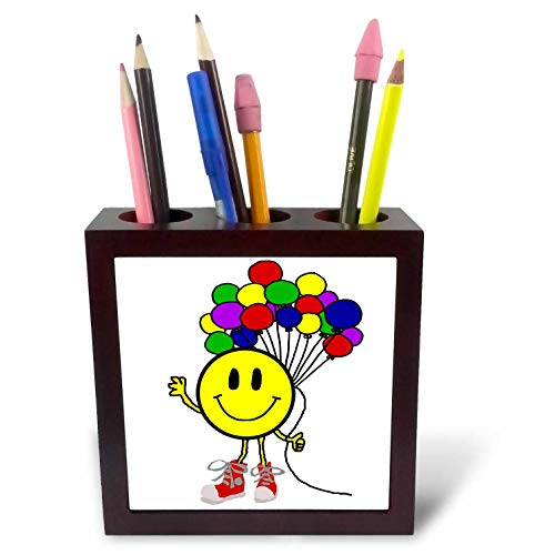 3dRose All Smiles Art - Funny - Cool Funny Smiley Face with Balloons Cartoon - 5 inch Tile Pen Holder (ph_313476_1)