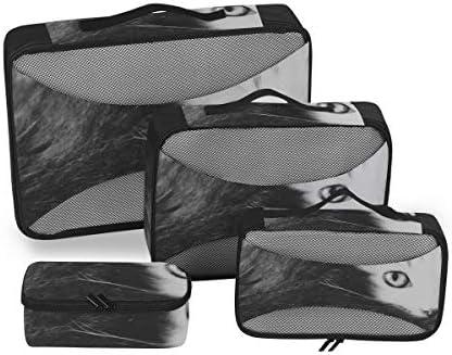トラベル ポーチ 旅行用 収納ケース 4点セット トラベルポーチセット アレンジケース スーツケース整理 猫 かわいい 美しい 動物柄 収納ポーチ 大容量 軽量 衣類 トイレタリーバッグ インナーバッグ
