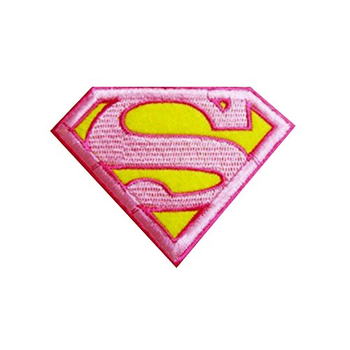 [Athena DC Comics Supergirl Logo Embroidered Iron/Sew-on Applique Patches] (Athena Pink Girls Costume)
