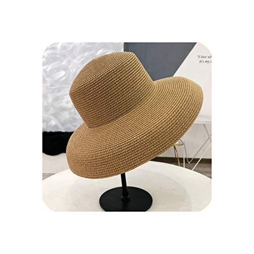 Straw Hat Sunken Modelling Tool Bell-Shaped Big Brim Hat Vintage High Pretend,Khaki,Adult -