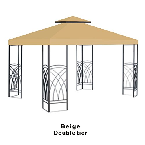 Strong Camel Double Tier Replacement Cover for 10'X10'Gazebo Canopy Top Patio Pavilion Cover Sunshade Polyester-Beige Color