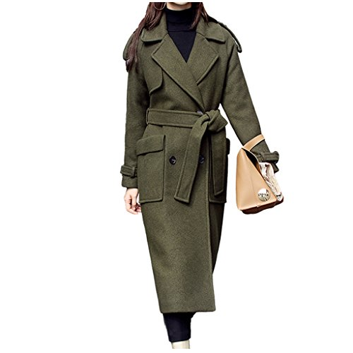 párrafo versión lana lana botón hasta JIN largo mujeres de de militar PING® verde botón Metro de Chaqueta botonadura rodillas coreana las Tamaño doble del CwtqfxYq7