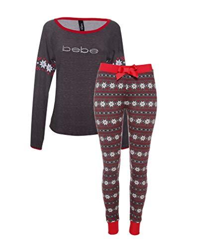 bebe Womens 2 Piece Long Sleeve Shirt Elastic Waist Skinny Pants Lounge Pajama Set Charcoal Heather Grey Large from bebe