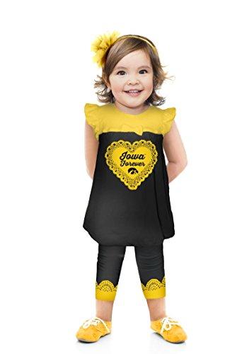 NCAA Iowa Hawkeyes Girls Infant Ruffle Set, 3-6 Months, Black (Iowa Hawkeye Baby Clothes)
