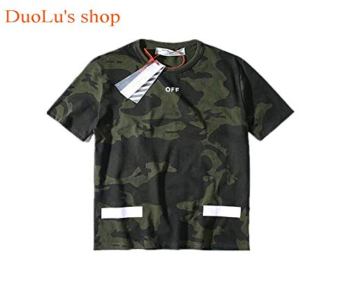 (DuoLu Fashion OW Camo Printed Crew Neck Pullover Cotton Casual Short-Sleeved T-Shirt for Men/Women)