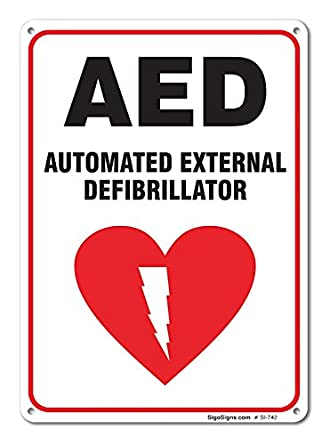 Automated External Defibrillator Sign Large 10 X 7 Aluminum For