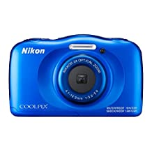 Nikon COOLPIX W100 13.2MP Waterproof Digital Camera, Blue (Renewed)