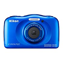 Nikon COOLPIX W100 13.2MP Waterproof Digital Camera, Blue (Certified Refurbished)